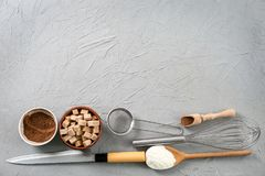 Set of kitchenware and products. On grey background. Cooking master classes royalty free stock photos