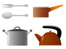 Set of kitchenware spoon fork casserole kettle Stock Photo