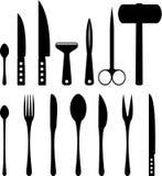 Set kitchenware sylwetki Zdjęcie Royalty Free