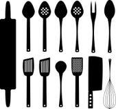 Set kitchenware sylwetki Zdjęcie Stock