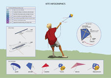 Set of Kites Inf-ographic Elements Royalty Free Stock Images