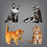 Set kittens origami-style. vector illustration Stock Photography