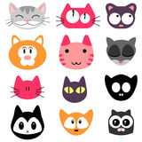 Set of kitty faces Stock Photo
