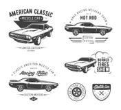 Set klasyczni mięśnia samochodu emblematy ilustracja wektor