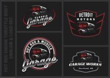 Set klasyczny samochodowy logo, emblematy i odznaki, royalty ilustracja