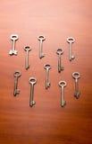 Set klucze na stole Fotografia Royalty Free
