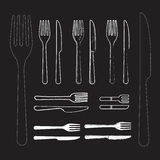 Set knife and fork hand drawn vector Royalty Free Stock Photos