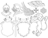Set of knight heraldic elements Stock Photos