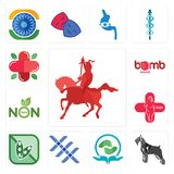 Set of knight on horseback, schnauzer, acupressure, triple x, soy free, plus size, non toxic, bomb squad, farmacy icons. Set Of 13 simple  icons such as knight Stock Photos