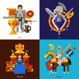 Set Of 2x2 Knight Images. Small flat 2x2 banners with feast reward knights and kit of medieval weapons vector illustration Royalty Free Stock Photos