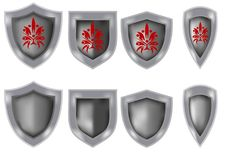 Set of knight shields. Used in ancient times Stock Photos