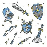 Set of knight, weapon and shiled - magical fairytale story element Stock Photos