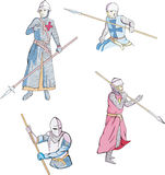 Set of knights with spears Royalty Free Stock Images