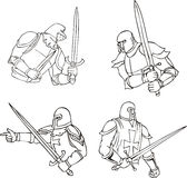 Set of knights with swords Royalty Free Stock Photos