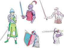 Set of knights with swords Stock Photography