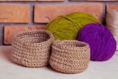 Set of knitted baskets Royalty Free Stock Images