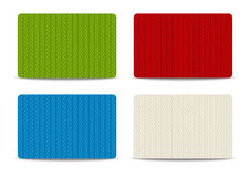 Set of knitted business cards. On white background Royalty Free Stock Images