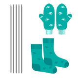 A set of knitted clothes. Mittens and socks. Vector illustration. Needlework stock illustration