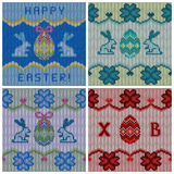 Set of the knitted Easter backgrounds Stock Photography