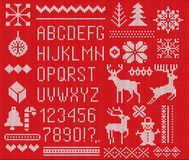Set of knitted font, elements and borders for Christmas, New Year or winter design. Ugly sweater style. Sweater ornaments for scan. Dinavian pattern. Vector vector illustration