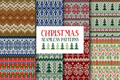 Set of knitted ornamental seamless patterns. Royalty Free Stock Photo