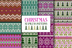 Set of knitted ornamental seamless patterns. Stock Photography