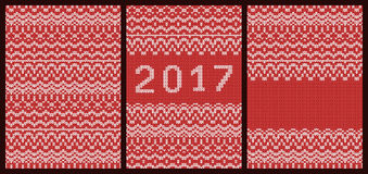 Set of knitted red cards. Happy New Year 2017. Royalty Free Stock Image