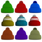 Set of knitted winter hats Royalty Free Stock Images
