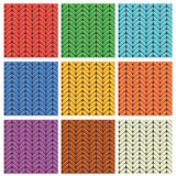 Set of 9 knitted wool colorfull seamless patterns Stock Photography