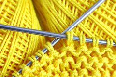 Set for knitting. Skeins of wool and knitting needles Royalty Free Stock Photos