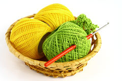 Set for knitting. In a wicker basket Royalty Free Stock Image
