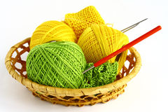 Set for knitting. In a wicker basket Stock Photo
