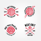 Set of knitting badges Stock Photography