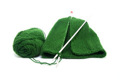 Set of knitting wool hats Stock Photo