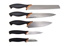 Set of knives isolated on white Royalty Free Stock Photography