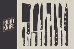 Set of knives. Kitchen accessories isolated on light background. royalty free illustration