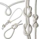 set of knots on a white rope, isolated on a white background. Royalty Free Stock Image