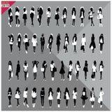 Set 48 kobiet czerni sylwetki z białymi płótnami na wierzchołku, editable, kolekcja Zdjęcie Stock