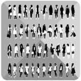 Set 48 kobiet, dziewczyn czarne sylwetki z białymi płótnami na wierzchołku, kolekcja Zdjęcie Stock