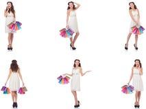 Set kobieta z torba na zakupy na bielu Fotografia Stock