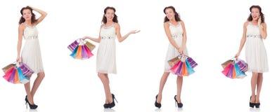 Set kobieta z torba na zakupy na bielu Obraz Stock