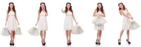 Set kobieta z torba na zakupy na bielu Zdjęcia Stock