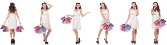 Set kobieta z torba na zakupy na bielu Zdjęcia Royalty Free