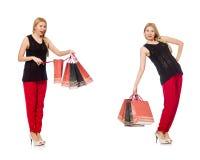 Set kobieta z torba na zakupy na bielu Obraz Royalty Free