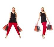 Set kobieta z torba na zakupy na bielu Zdjęcie Stock
