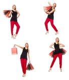 Set kobieta z torba na zakupy na bielu Fotografia Royalty Free