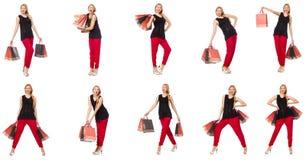 Set kobieta z torba na zakupy na bielu Obrazy Royalty Free