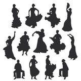 Set kobiety w suknia pobycie w taniec pozie flamenco tancerza Hiszpańscy regiony Andalusia, Extremadura i Murcia, Cajon perkusja Fotografia Stock