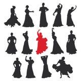 Set kobiety w suknia pobycie w taniec pozie flamenco tancerza Hiszpańscy regiony Andalusia, Extremadura i Murcia, czarna sylwetka Fotografia Royalty Free