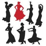Set kobiety w suknia pobycie w taniec pozie flamenco tancerza Hiszpańscy regiony Andalusia, Extremadura i Murcia, czarna sylwetka Obraz Royalty Free